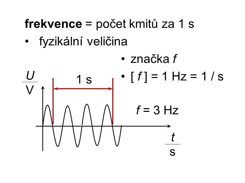 frekvence = počet kmitů za 1 s fyzikální veličina značka f [ f ] = 1 Hz = 1 / s tsts UVUV 1 s f = 3 Hz