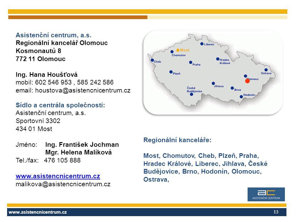 www.asistencnicentrum.cz 13 Asistenční centrum, a.s.