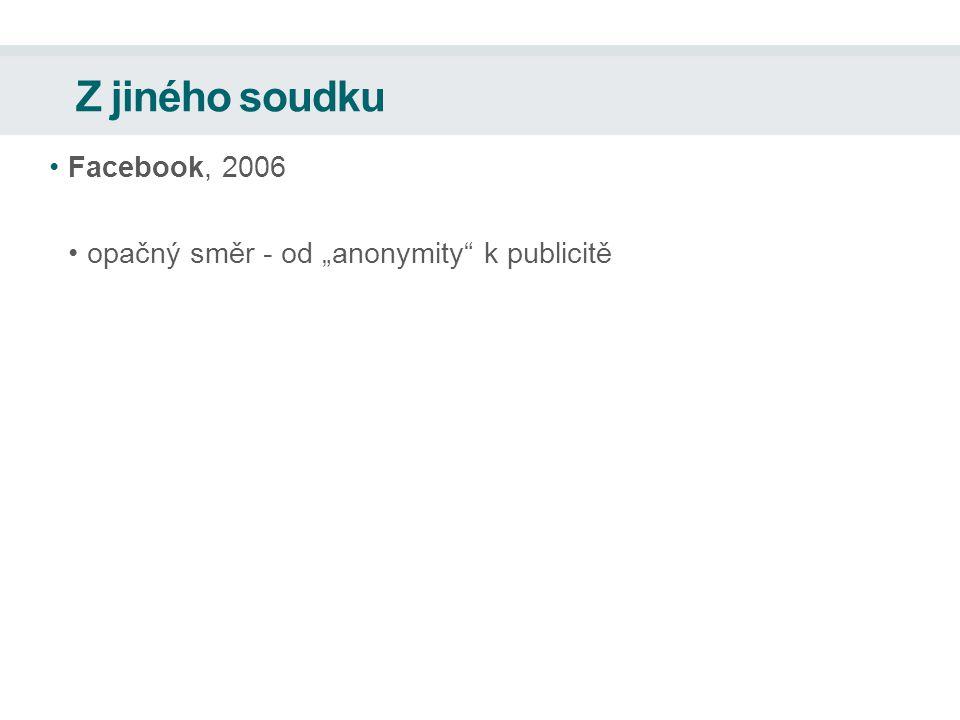 """Z jiného soudku Facebook, 2006 opačný směr - od """"anonymity k publicitě"""