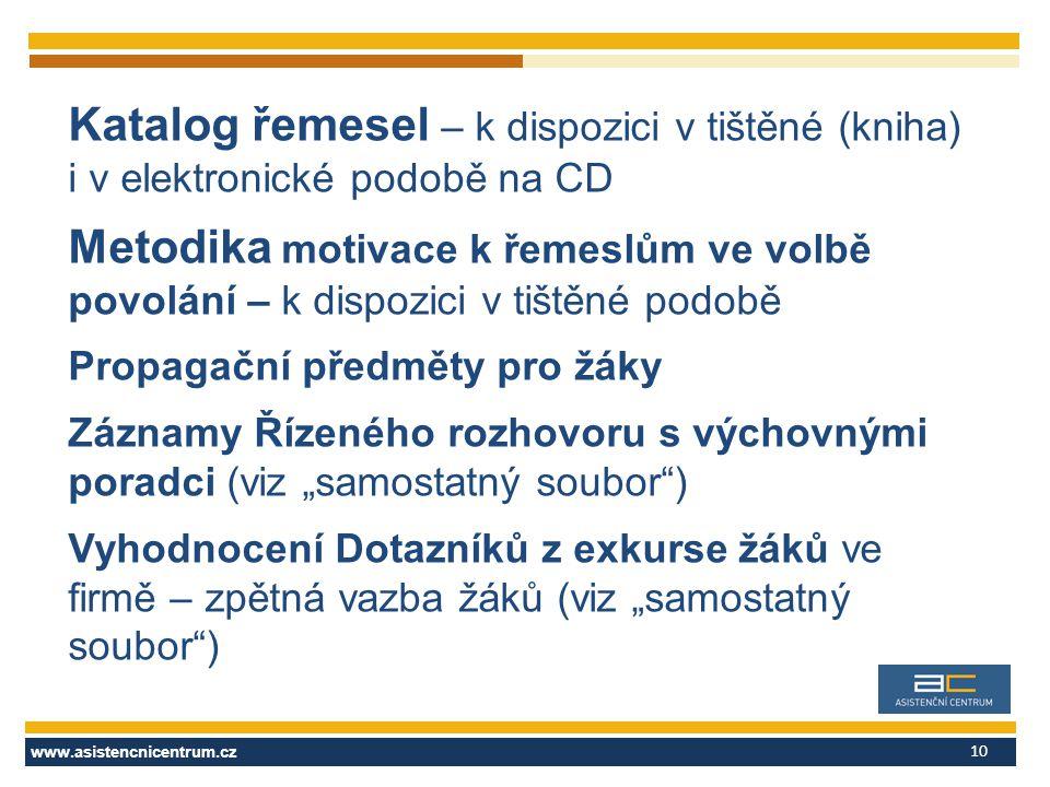 www.asistencnicentrum.cz 10 Katalog řemesel – k dispozici v tištěné (kniha) i v elektronické podobě na CD Metodika motivace k řemeslům ve volbě povolá