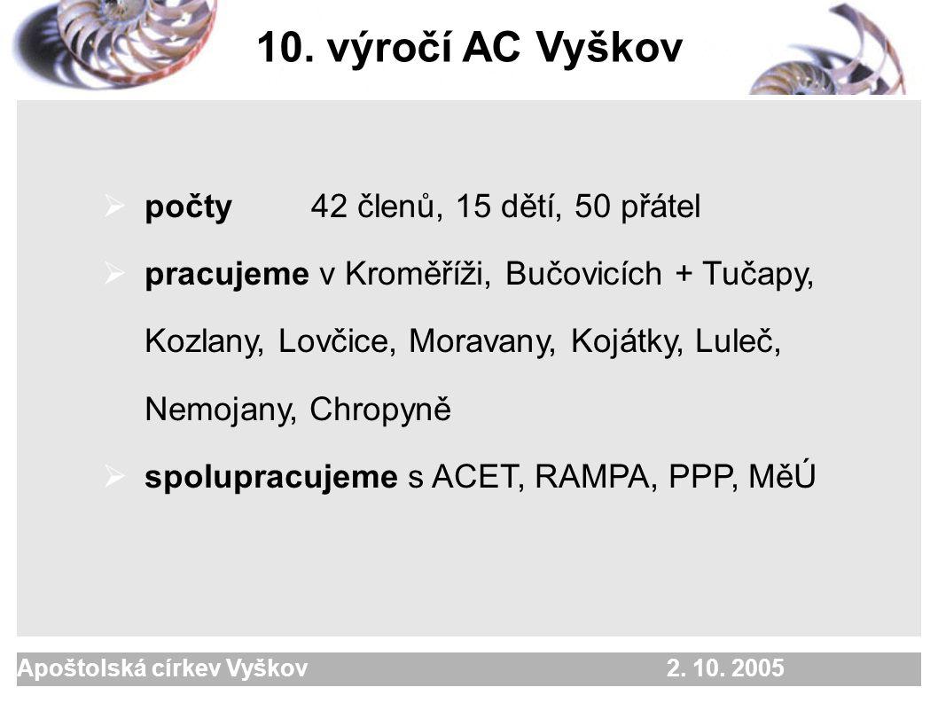 Apoštolská církev Vyškov 2. 10. 2005 Kdo jsme .