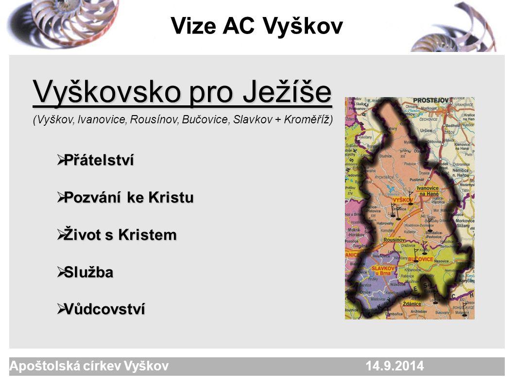 Apoštolská církev Vyškov 2. 10. 2005  počty42 členů, 15 dětí, 50 přátel  pracujeme v Kroměříži, Bučovicích + Tučapy, Kozlany, Lovčice, Moravany, Koj
