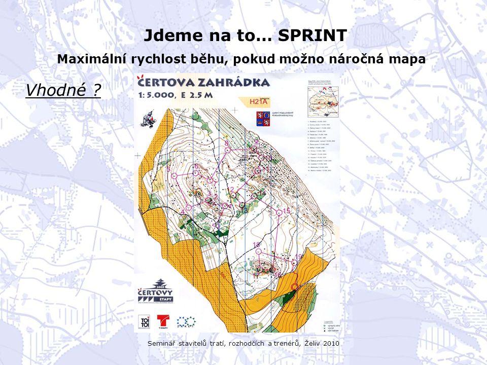 Seminář stavitelů tratí, rozhodčích a trenérů, Želiv 2010 Jdeme na to… SPRINT Maximální rychlost běhu, pokud možno náročná mapa Vhodné