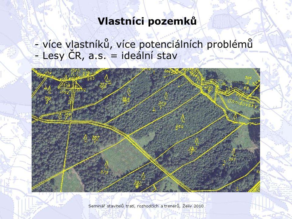 Seminář stavitelů tratí, rozhodčích a trenérů, Želiv 2010 Vlastníci pozemků - více vlastníků, více potenciálních problémů - Lesy ČR, a.s. = ideální st