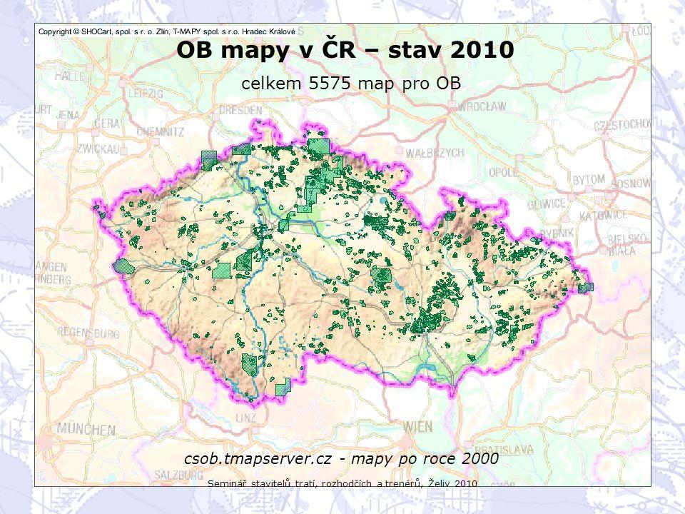 Seminář stavitelů tratí, rozhodčích a trenérů, Želiv 2010 OB mapy v ČR – stav 2010 celkem 5575 map pro OB csob.tmapserver.cz - všechny mapy