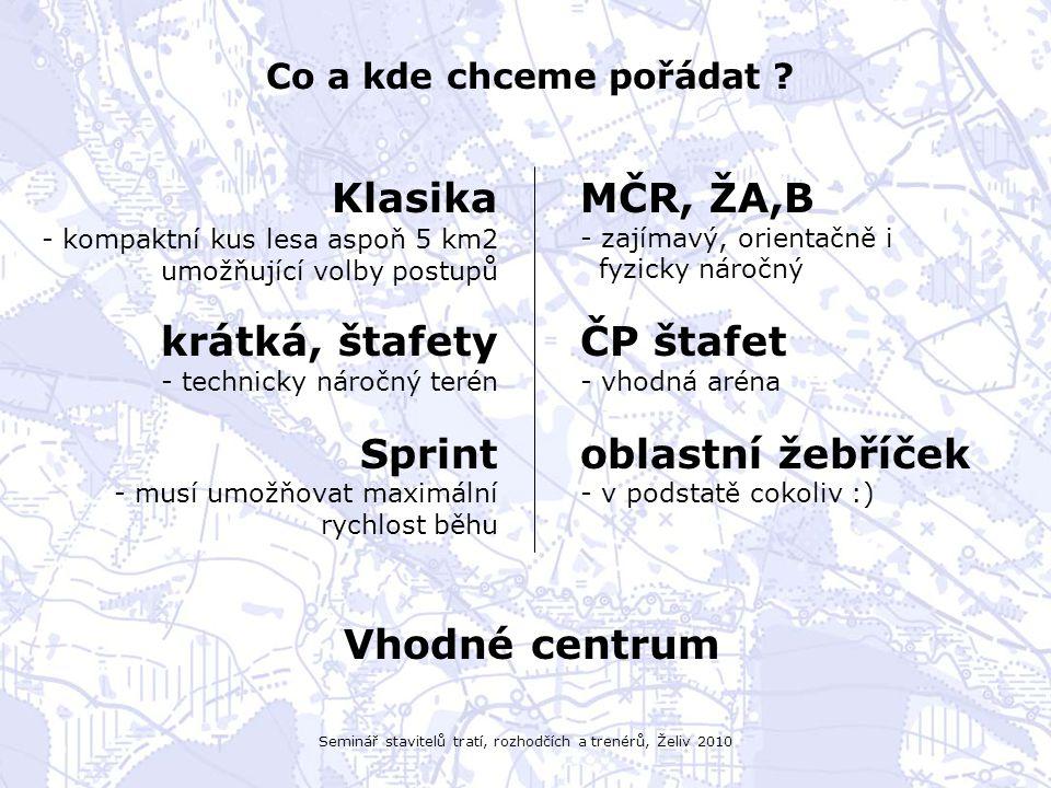 Seminář stavitelů tratí, rozhodčích a trenérů, Želiv 2010 Co a kde chceme pořádat ? Klasika - kompaktní kus lesa aspoň 5 km2 umožňující volby postupů