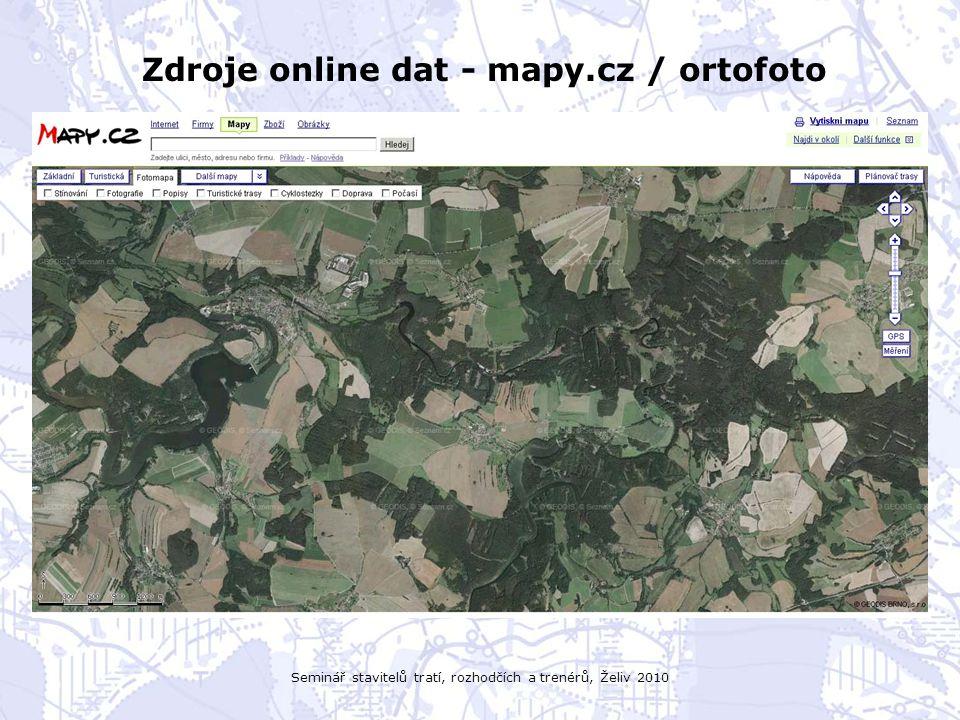 Seminář stavitelů tratí, rozhodčích a trenérů, Želiv 2010 Zdroje online dat - mapy.cz / ortofoto