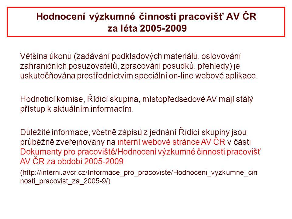 Hodnocení výzkumné činnosti pracovišť AV ČR za léta 2005-2009 Většina úkonů (zadávání podkladových materiálů, oslovování zahraničních posuzovatelů, zp