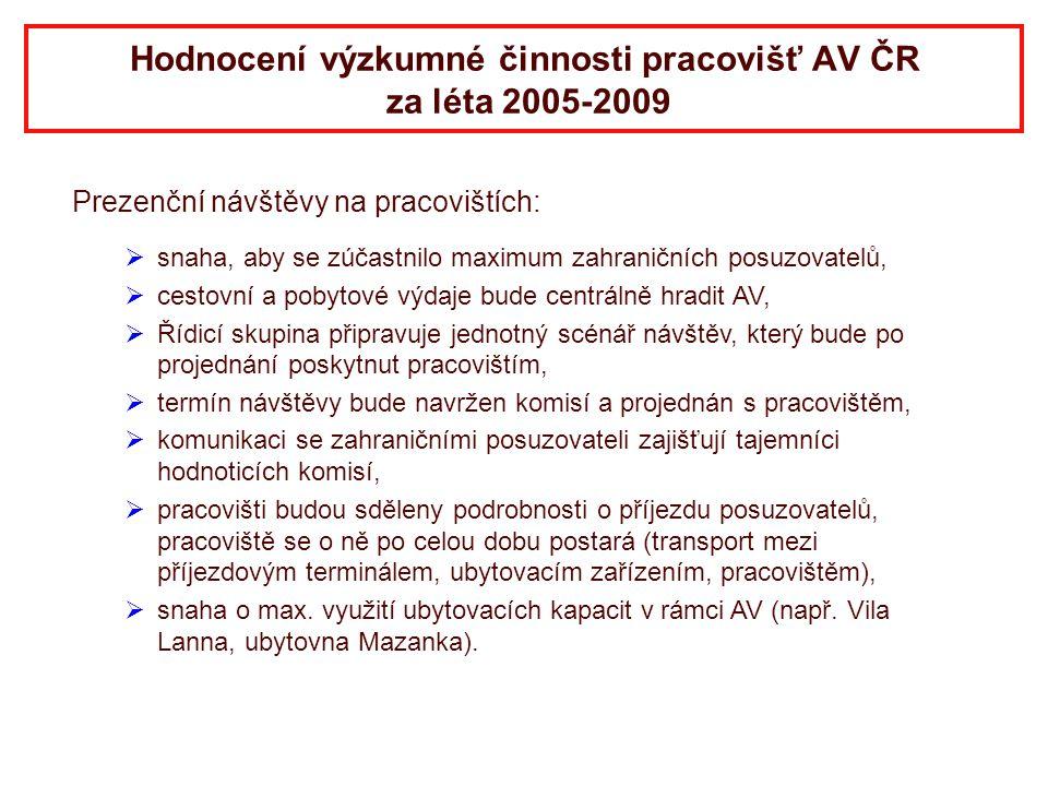 Hodnocení výzkumné činnosti pracovišť AV ČR za léta 2005-2009 Prezenční návštěvy na pracovištích:   snaha, aby se zúčastnilo maximum zahraničních po