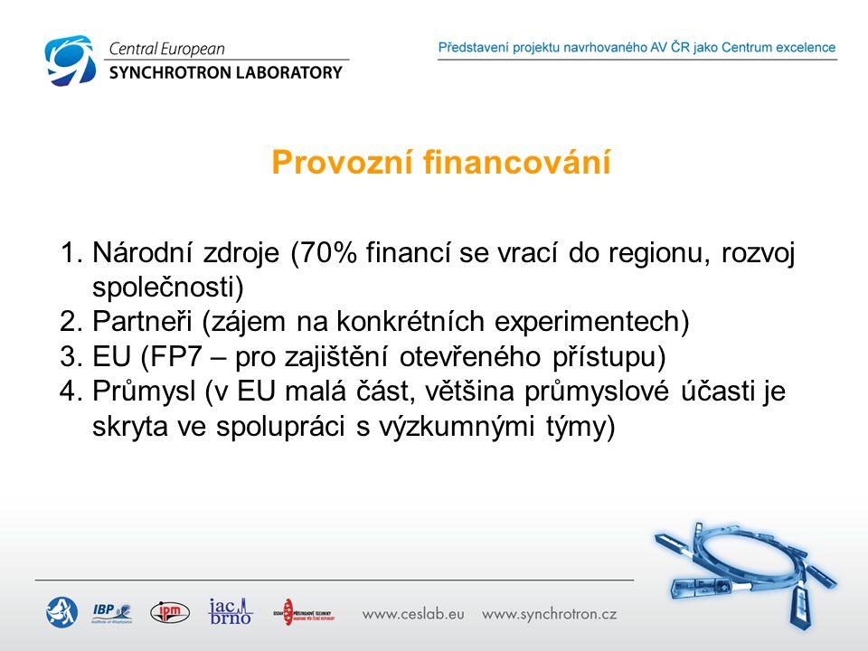 Provozní financování 1.Národní zdroje (70% financí se vrací do regionu, rozvoj společnosti) 2.Partneři (zájem na konkrétních experimentech) 3.EU (FP7