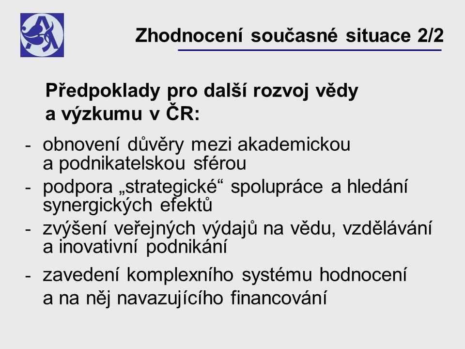"""Zhodnocení současné situace 2/2 Předpoklady pro další rozvoj vědy a výzkumu v ČR: - obnovení důvěry mezi akademickou a podnikatelskou sférou - podpora """"strategické spolupráce a hledání synergických efektů - zvýšení veřejných výdajů na vědu, vzdělávání a inovativní podnikání - zavedení komplexního systému hodnocení a na něj navazujícího financování"""