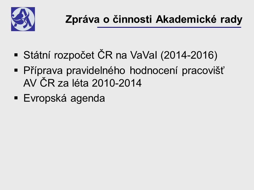 Zpráva o činnosti Akademické rady  Státní rozpočet ČR na VaVaI (2014-2016)  Příprava pravidelného hodnocení pracovišť AV ČR za léta 2010-2014  Evropská agenda