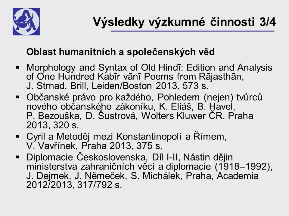 Oblast humanitních a společenských věd  Morphology and Syntax of Old Hindī: Edition and Analysis of One Hundred Kabīr vānī Poems from Rājasthān, J.