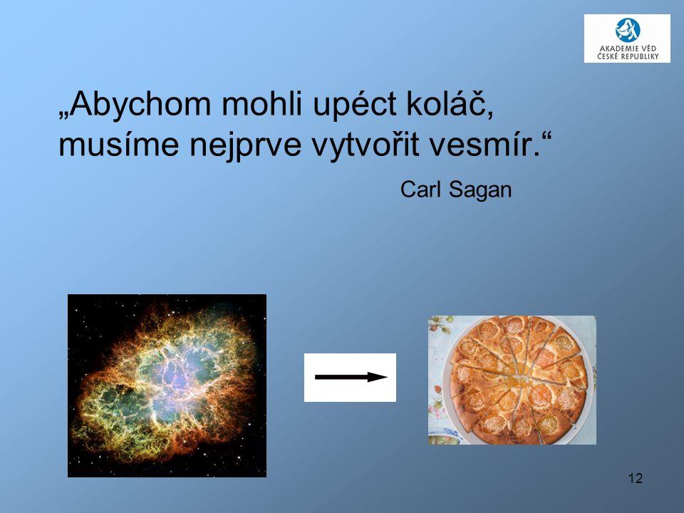 """12 """"Abychom mohli upéct koláč, musíme nejprve vytvořit vesmír."""" Carl Sagan"""