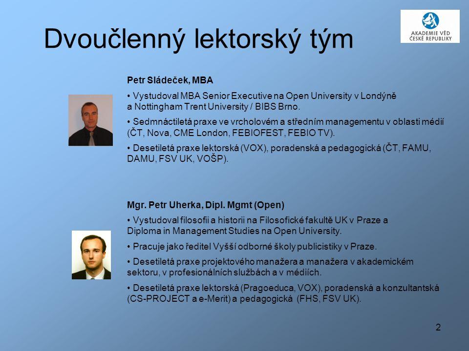 2 Dvoučlenný lektorský tým Petr Sládeček, MBA Vystudoval MBA Senior Executive na Open University v Londýně a Nottingham Trent University / BIBS Brno.