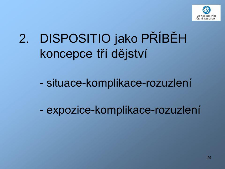 24 2.DISPOSITIO jako PŘÍBĚH koncepce tří dějství - situace-komplikace-rozuzlení - expozice-komplikace-rozuzlení