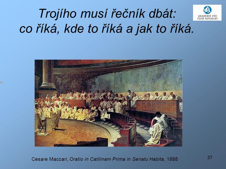 37 Trojího musí řečník dbát: co říká, kde to říká a jak to říká. Cesare Maccari, Oratio in Catilinam Prima in Senatu Habita, 1888