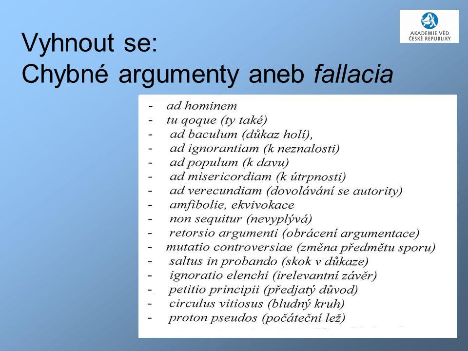 44 Vyhnout se: Chybné argumenty aneb fallacia