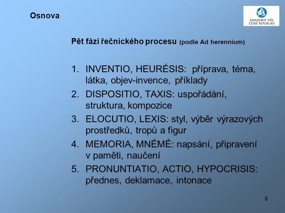6 Osnova Pět fází řečnického procesu (podle Ad herennium) 1. INVENTIO, HEURÉSIS: příprava, téma, látka, objev-invence, příklady 2. DISPOSITIO, TAXIS: