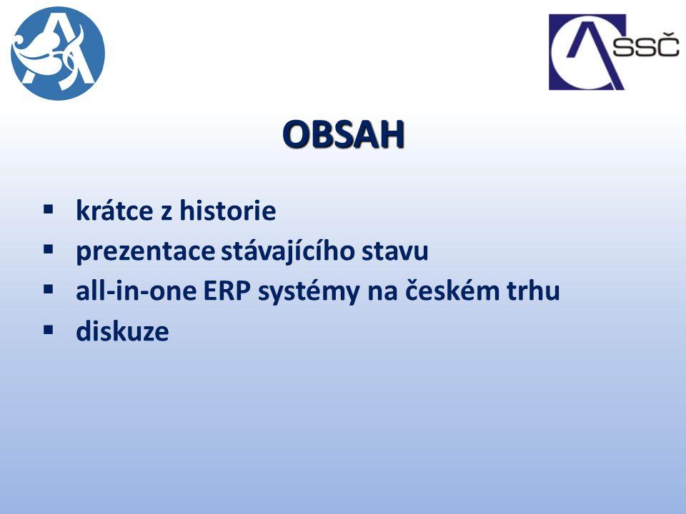 OBSAH  krátce z historie  prezentace stávajícího stavu  all-in-one ERP systémy na českém trhu  diskuze
