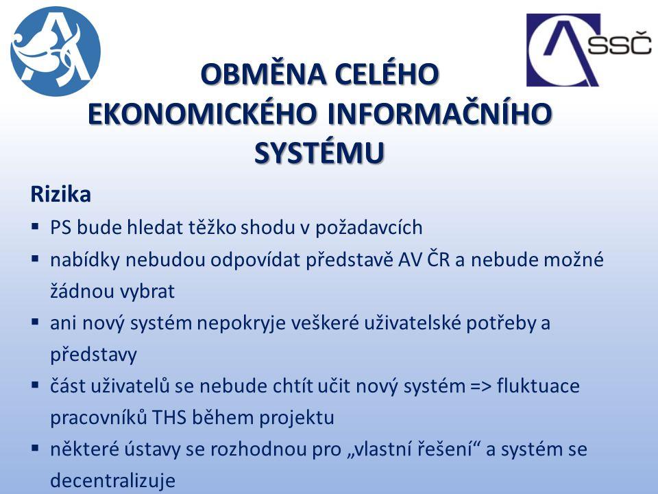 """Rizika  PS bude hledat těžko shodu v požadavcích  nabídky nebudou odpovídat představě AV ČR a nebude možné žádnou vybrat  ani nový systém nepokryje veškeré uživatelské potřeby a představy  část uživatelů se nebude chtít učit nový systém => fluktuace pracovníků THS během projektu  některé ústavy se rozhodnou pro """"vlastní řešení a systém se decentralizuje OBMĚNA CELÉHO EKONOMICKÉHO INFORMAČNÍHO SYSTÉMU"""