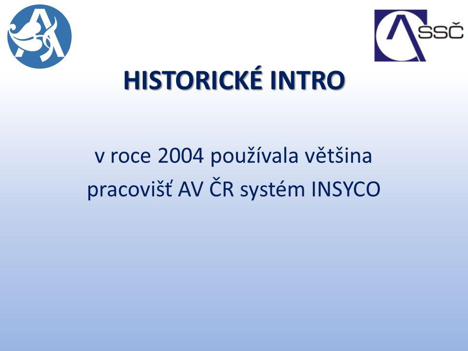HISTORICKÉ INTRO v roce 2004 používala většina pracovišť AV ČR systém INSYCO
