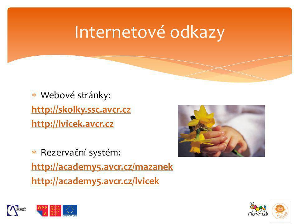  Webové stránky: http://skolky.ssc.avcr.cz http://lvicek.avcr.cz  Rezervační systém: http://academy5.avcr.cz/mazanek http://academy5.avcr.cz/lvicek