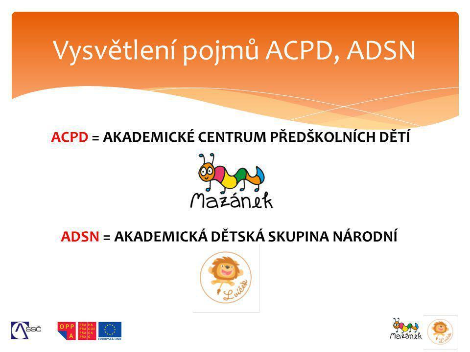 ACPD = AKADEMICKÉ CENTRUM PŘEDŠKOLNÍCH DĚTÍ Vysvětlení pojmů ACPD, ADSN ADSN = AKADEMICKÁ DĚTSKÁ SKUPINA NÁRODNÍ
