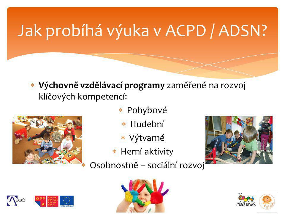původní koncepce CPDdnešní ACPD / ADSNMŠ celodenní provoz neano vzdělávací program zájmové vzdělávání dle vyhlášky č.74/2005 Sb.