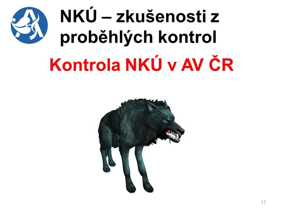 NKÚ – zkušenosti z proběhlých kontrol Kontrola NKÚ v AV ČR 17