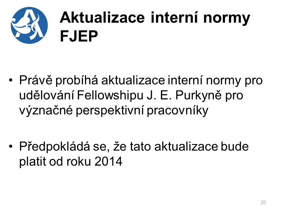 Aktualizace interní normy FJEP Právě probíhá aktualizace interní normy pro udělování Fellowshipu J.