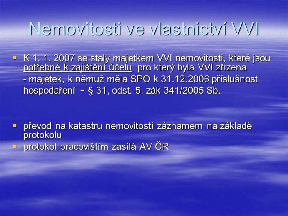 Nemovitosti ve vlastnictví VVI  K 1. 1.