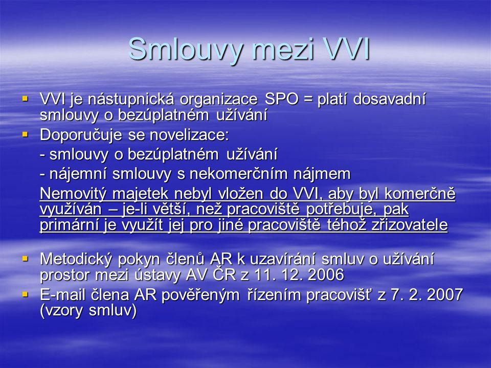Smlouvy mezi VVI Smlouvy mezi VVI  VVI je nástupnická organizace SPO = platí dosavadní smlouvy o bezúplatném užívání  Doporučuje se novelizace: - smlouvy o bezúplatném užívání - nájemní smlouvy s nekomerčním nájmem Nemovitý majetek nebyl vložen do VVI, aby byl komerčně využíván – je-li větší, než pracoviště potřebuje, pak primární je využít jej pro jiné pracoviště téhož zřizovatele  Metodický pokyn členů AR k uzavírání smluv o užívání prostor mezi ústavy AV ČR z 11.