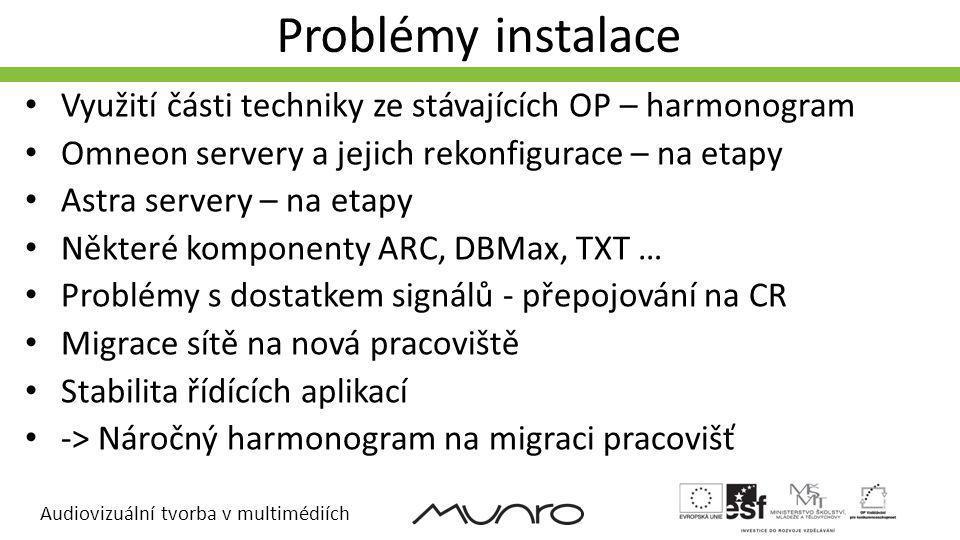 Audiovizuální tvorba v multimédiích Problémy instalace Využití části techniky ze stávajících OP – harmonogram Omneon servery a jejich rekonfigurace – na etapy Astra servery – na etapy Některé komponenty ARC, DBMax, TXT … Problémy s dostatkem signálů - přepojování na CR Migrace sítě na nová pracoviště Stabilita řídících aplikací -> Náročný harmonogram na migraci pracovišť