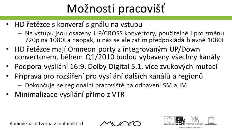 Audiovizuální tvorba v multimédiích Možnosti pracovišť HD řetězce s konverzí signálu na vstupu – Na vstupu jsou osazeny UP/CROSS konvertory, použiteln