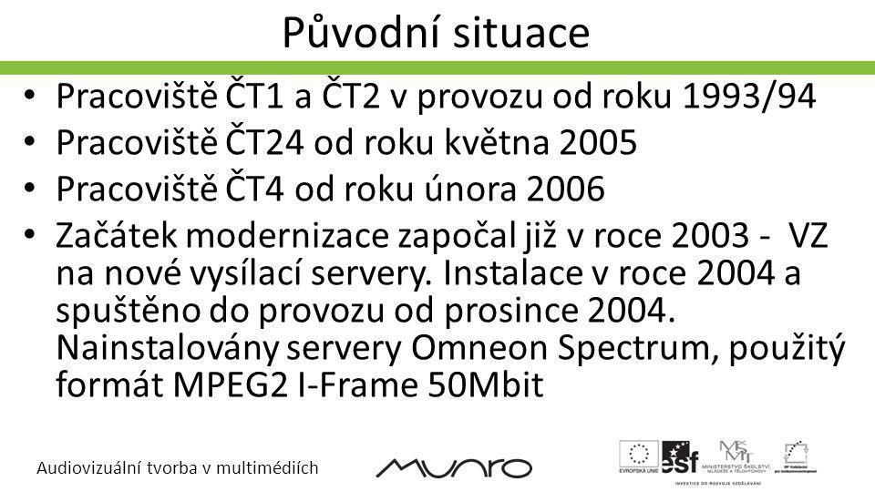 Audiovizuální tvorba v multimédiích Výběr nové technologie Začátek VZ již koncem roku 2006 Realizace zahájena koncem 2007 Uvedení do provozu v druhé polovině 2008 (postupně od ČT4) Základní koncept n+1 pracoviště Možná záměnná pracoviště (koncept SHS) Připravenost na HD, následně jeden řetězec SD/HD Využití již nakoupené technologie a její migrace Druhá etapa a HD upgrade – druha polovina 2009