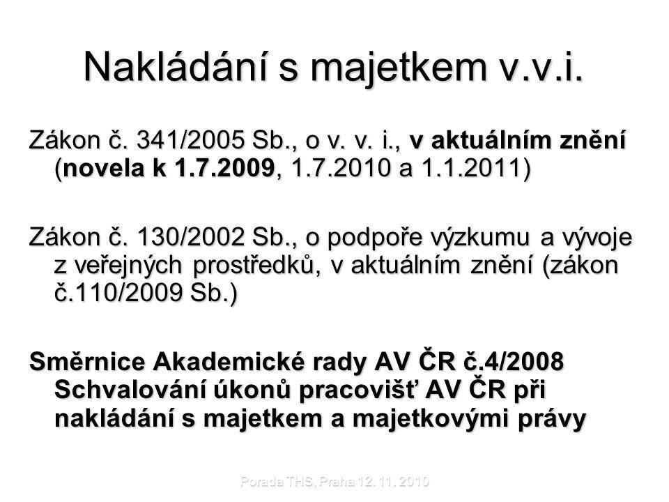 Porada THS, Praha 12.11. 2010 Majetek v.v.i.  Majetek pracovišť AV ČR – v.v.i.