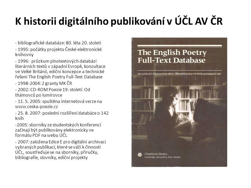 K historii digitálního publikování v ÚČL AV ČR - bibliografické databáze: 80.
