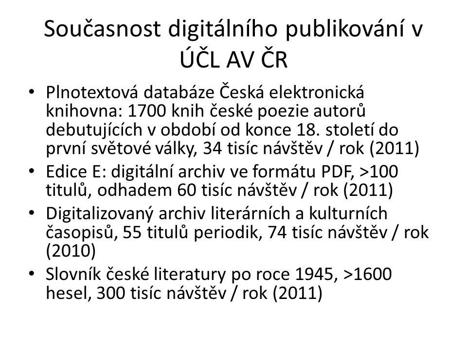 Současnost digitálního publikování v ÚČL AV ČR Plnotextová databáze Česká elektronická knihovna: 1700 knih české poezie autorů debutujících v období o
