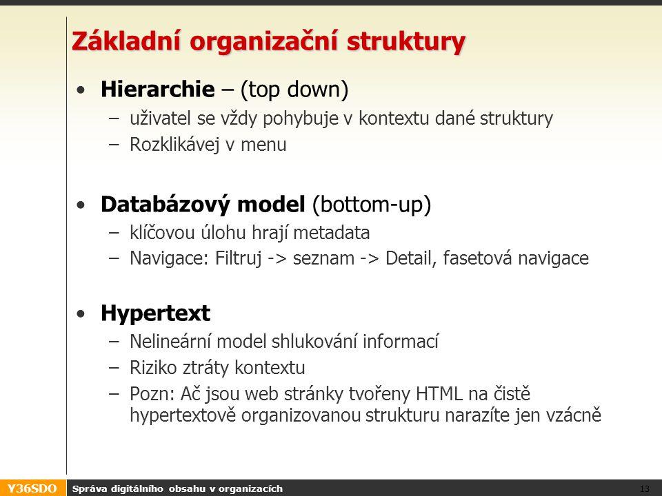 Y36SDO Správa digitálního obsahu v organizacích 13 Základní organizační struktury Hierarchie – (top down) –uživatel se vždy pohybuje v kontextu dané struktury –Rozklikávej v menu Databázový model (bottom-up) –klíčovou úlohu hrají metadata –Navigace: Filtruj -> seznam -> Detail, fasetová navigace Hypertext –Nelineární model shlukování informací –Riziko ztráty kontextu –Pozn: Ač jsou web stránky tvořeny HTML na čistě hypertextově organizovanou strukturu narazíte jen vzácně