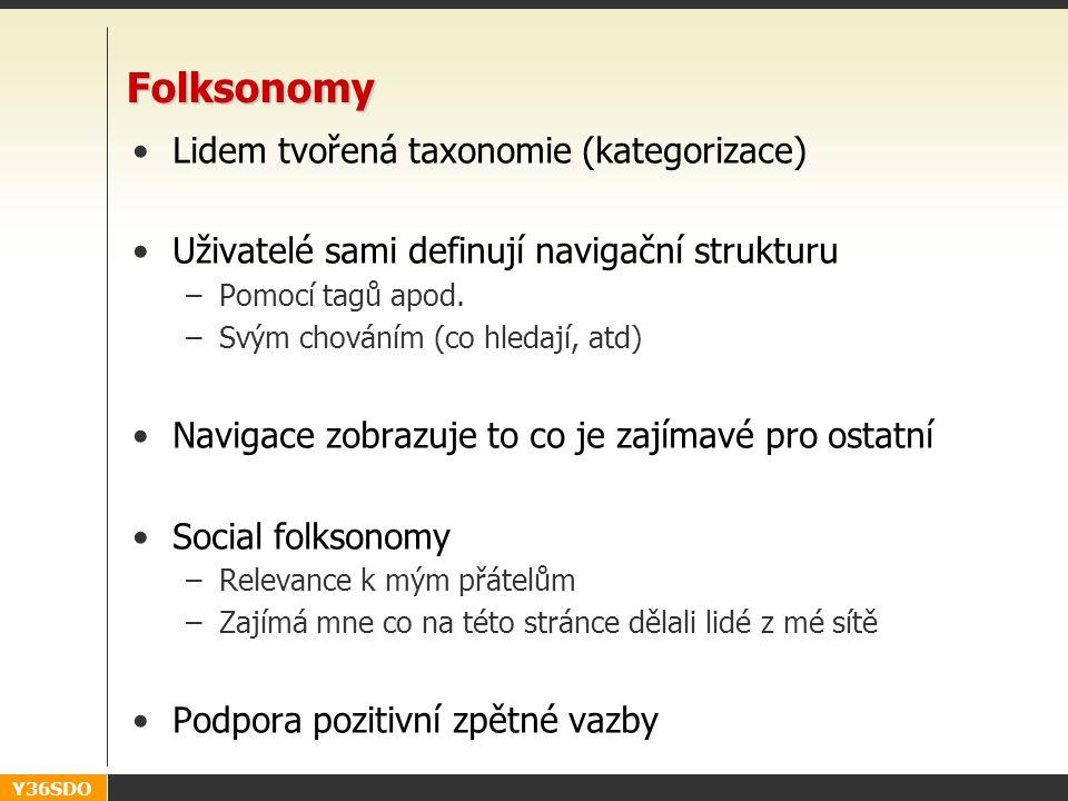 Y36SDO Folksonomy Lidem tvořená taxonomie (kategorizace) Uživatelé sami definují navigační strukturu –Pomocí tagů apod. –Svým chováním (co hledají, at