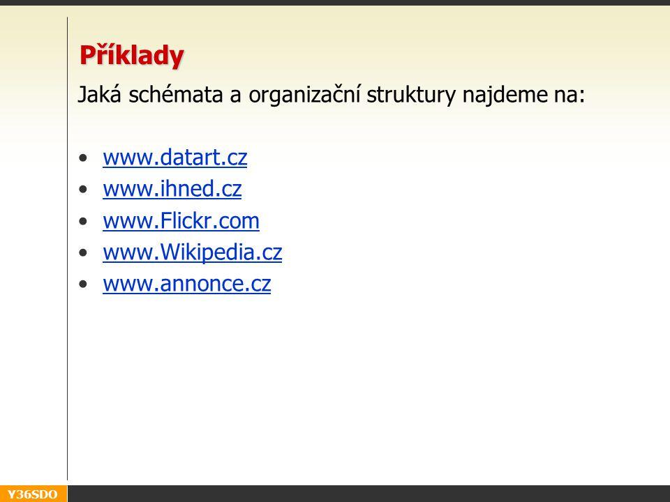 Y36SDO Příklady Jaká schémata a organizační struktury najdeme na: www.datart.cz www.ihned.cz www.Flickr.com www.Wikipedia.cz www.annonce.cz