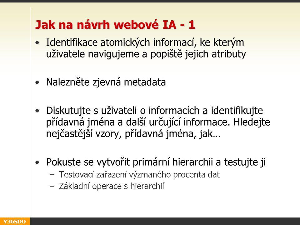 Y36SDO Jak na návrh webové IA - 1 Identifikace atomických informací, ke kterým uživatele navigujeme a popiště jejich atributy Nalezněte zjevná metadata Diskutujte s uživateli o informacích a identifikujte přídavná jména a další určující informace.