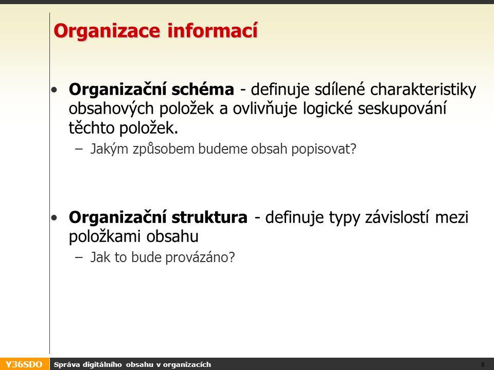 Y36SDO Správa digitálního obsahu v organizacích 8 Organizace informací Organizační schéma - definuje sdílené charakteristiky obsahových položek a ovlivňuje logické seskupování těchto položek.