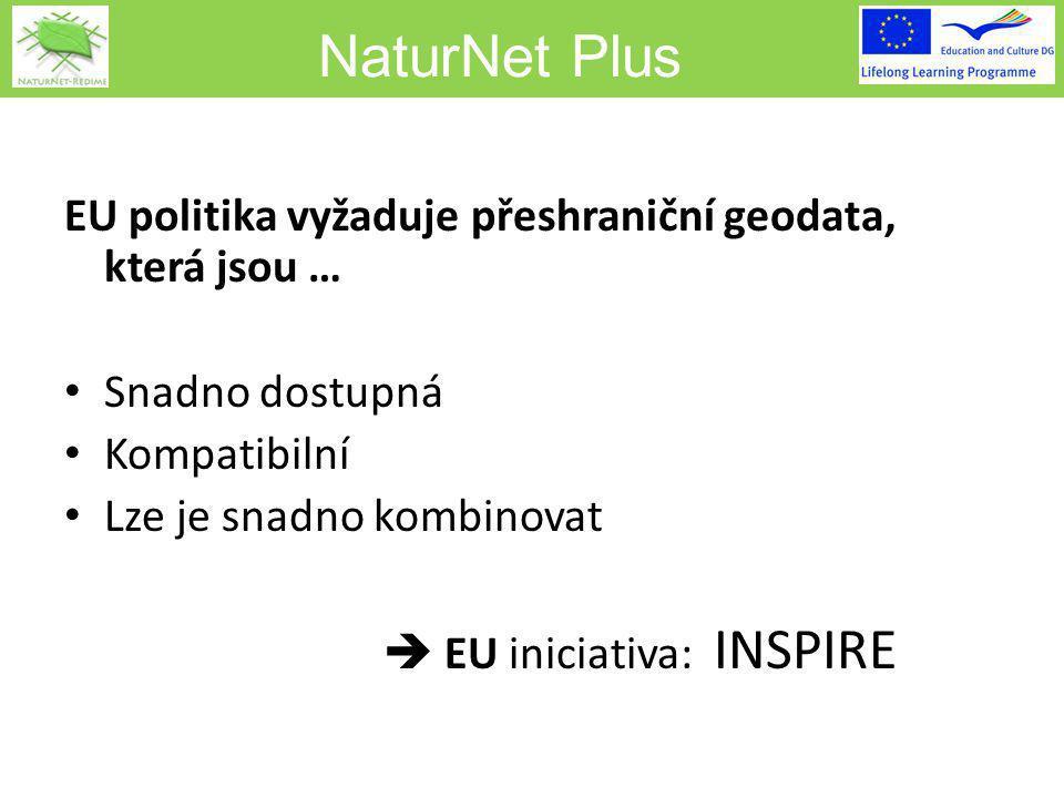 NaturNet Plus EU politika vyžaduje přeshraniční geodata, která jsou … Snadno dostupná Kompatibilní Lze je snadno kombinovat  EU iniciativa: INSPIRE