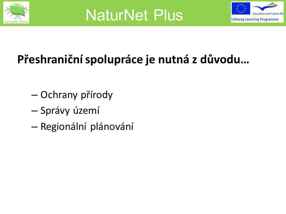 NaturNet Plus Přeshraniční spolupráce je nutná z důvodu… – Ochrany přírody – Správy území – Regionální plánování