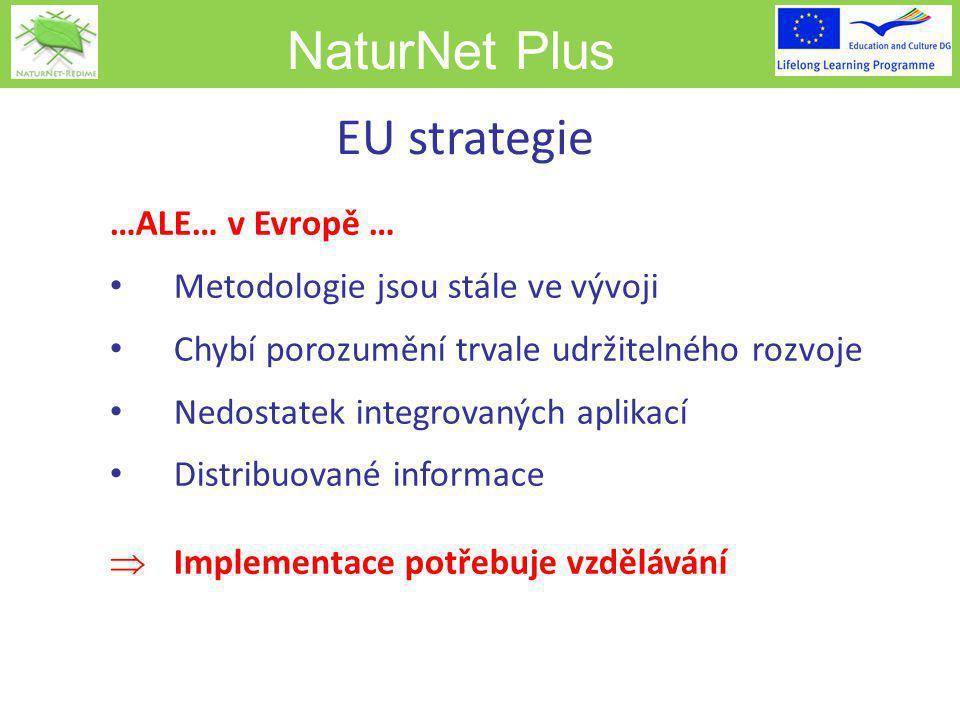 NaturNet Plus EU strategie …ALE… v Evropě … Metodologie jsou stále ve vývoji Chybí porozumění trvale udržitelného rozvoje Nedostatek integrovaných aplikací Distribuované informace  Implementace potřebuje vzdělávání