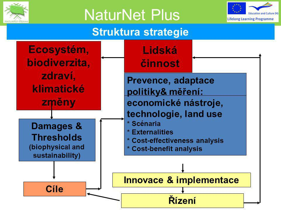 NaturNet Plus Ecosystém, biodiverzita, zdraví, klimatické změny Damages & Thresholds (biophysical and sustainability) Cíle Lidská činnost Prevence, adaptace politiky& měření: economické nástroje, technologie, land use * Scénaria * Externalities * Cost-effectiveness analysis * Cost-benefit analysis Innovace & implementace Řízení Struktura strategie