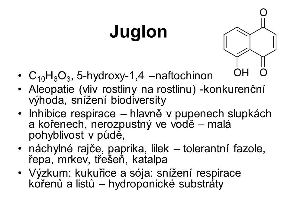 Juglon C 10 H 6 O 3, 5-hydroxy-1,4 –naftochinon Aleopatie (vliv rostliny na rostlinu) -konkurenční výhoda, snížení biodiversity Inhibice respirace – h